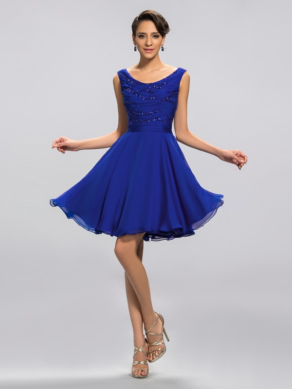 Eye-catching Scoop Neckine Sequins Ruffles Short Homecoming/Graduation Dress Designed