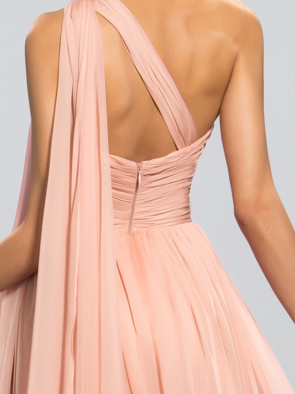 A-line One-Shoulder Pleats Split-Front Floor-Length Evening Dress Designed