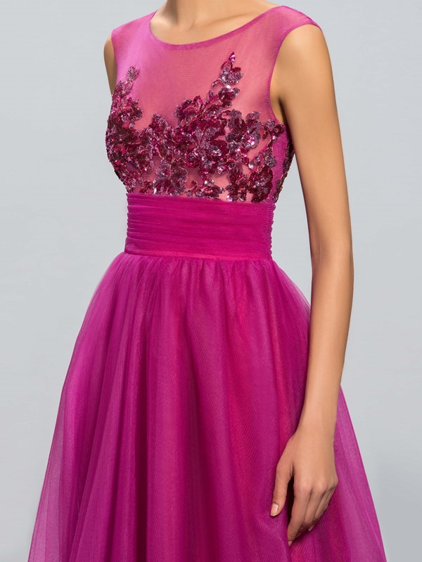 Dazzling Tulle Neckline Sequined Appliques A-Line Long Evening Dress Designed