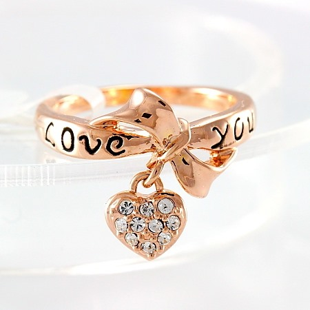Classy LOVE YOU Letters Bowknot with Crystal Heart Women's Ring