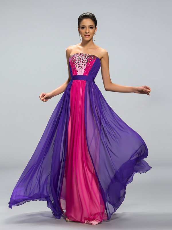 Stunning Strapless Beaded A-Line Long Evening Dress Designed