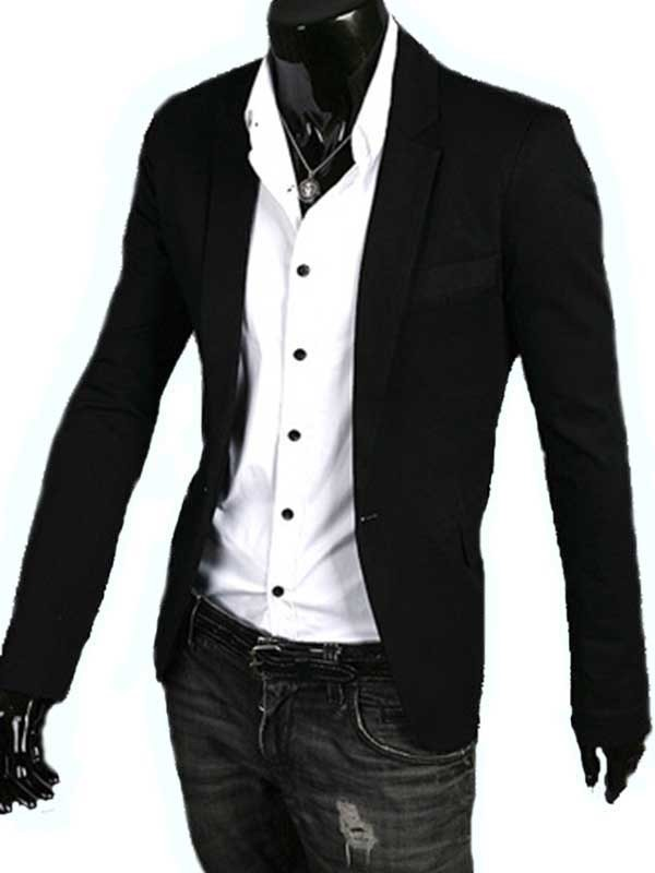 Lapel One-Button Long Sleeve Jacket