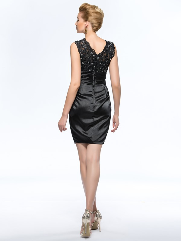 Classical Sleeveless Sheath Short Black Mother Of The Bride Dress (Free Shipping)