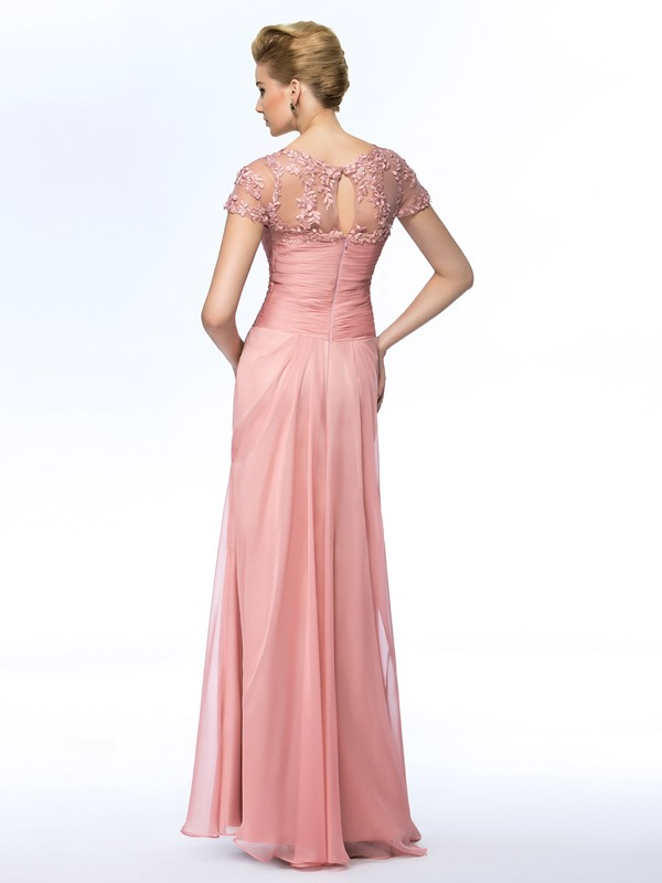 Eye-catching Jewel Neck Short Sleeves Pink Long Mother of the Bride Dress(Free Shipping)