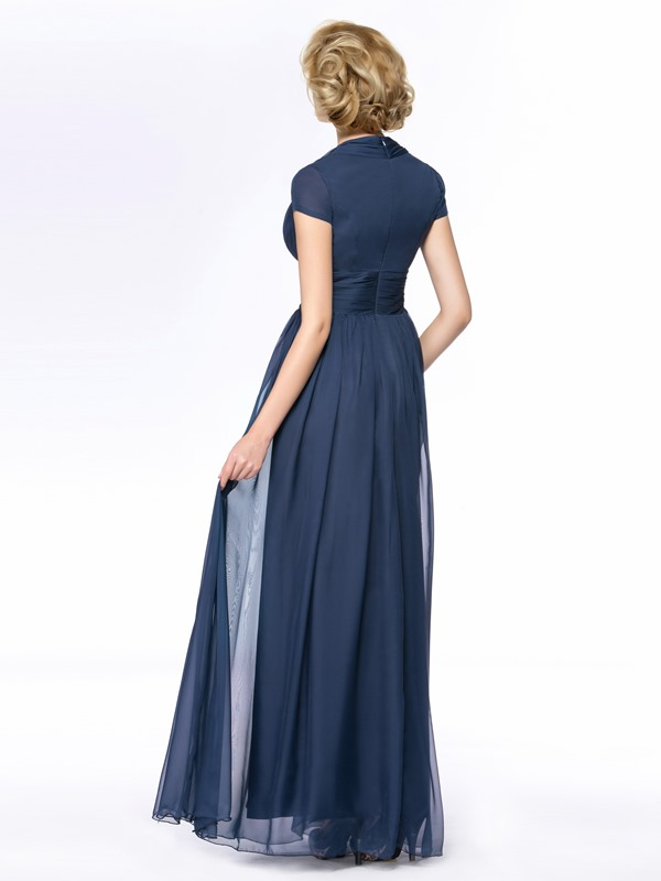 V-Neck Short Sleeve Blue Long Mother Of the Bride Dress(Free Shipping)