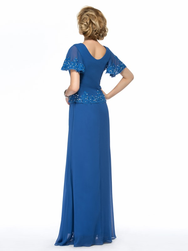 Beaded Blue Long Mother of the Bride Dress