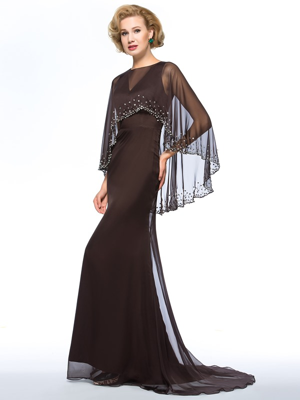 V-Neck Floor-Length Sweep Train Plus Size Mother of the Bride Dress With Jacket/Shawl(Free Shipping)