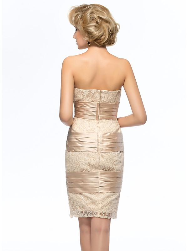 Elegant Sheath/Column Strapless Ruched Short Lace Mother of the Bride Dress With Jacket/Shawl(Free Shipping)