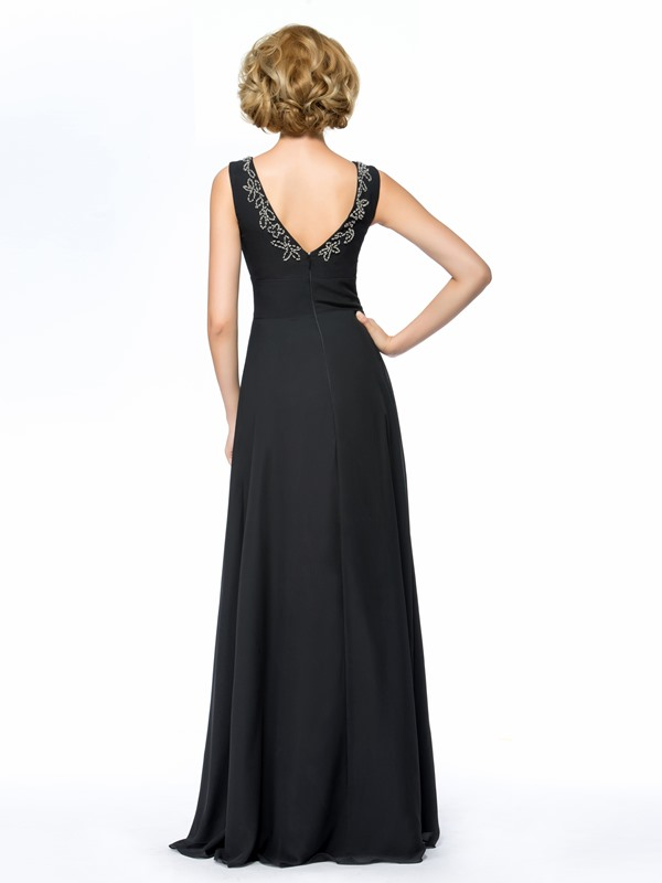 V-Neck Beaded Black Long Plus Size Mother of the Bride Dress With Jacket/Shawl(Free Shipping)