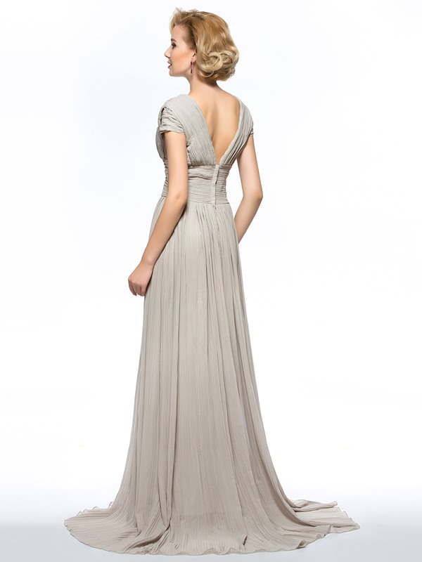 Dazzling V-Neck Split-front Sweep Train Mother of the Bride Dress with Sleeves Long(Free Shipping)