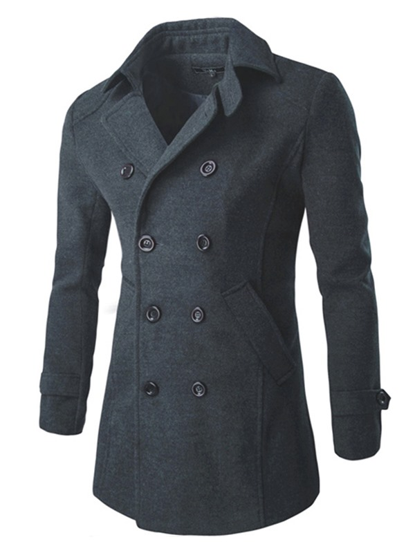 Lapel Double-Breasted Men's Long Sleeve Overcoat