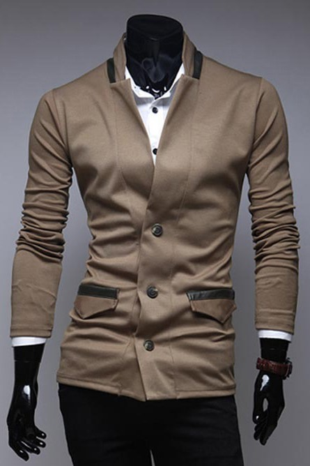 Plain Stand Collar Single-Breasted Long Sleeve Knitwear