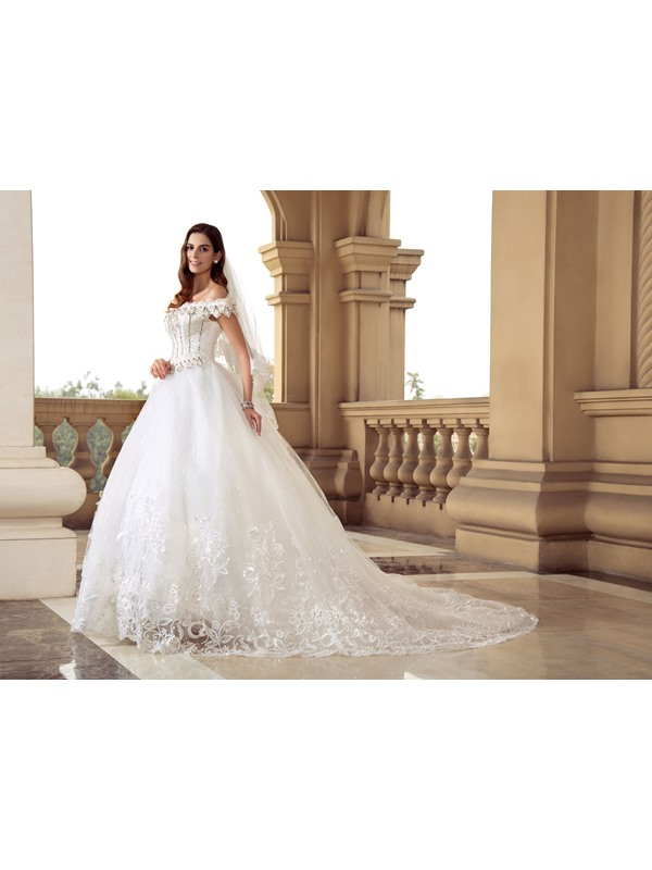 Eye-catching Scalloped Off the Shoulder Beaded Ball Gown White Lace Wedding Dress(Free Shipping)