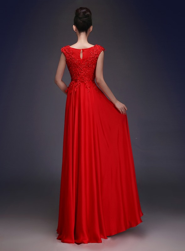 Eye-catching Scoop Neck Lace Beading A-Line Long Evening Dress