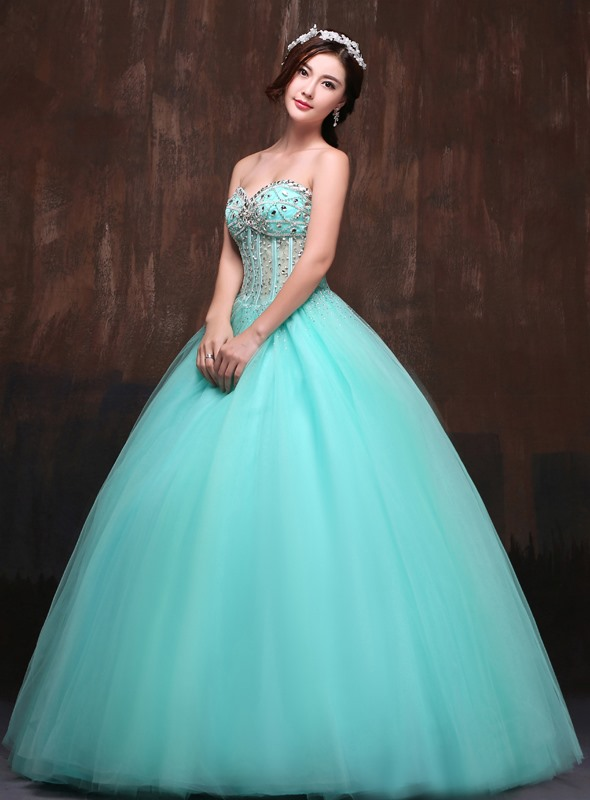 Unique Sweetheart Beading Sequins Lace-up Long Quinceanera Dress