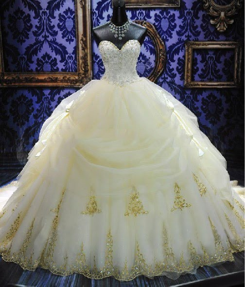 Deluxe Royal Cathedral Beaded Sweetheart Ball Gown Wedding Dress(Free Shipping)