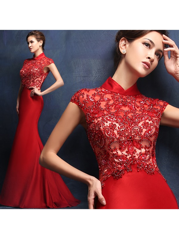 Luxurious High Neck Mermaid Cap Sleeves Beading Floor-Length Evening Dress