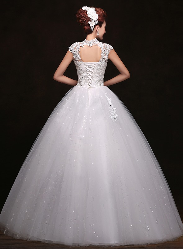 Trendy Lace High Neck Floor Length Ball Gown White Wedding Dress(Free Shipping)