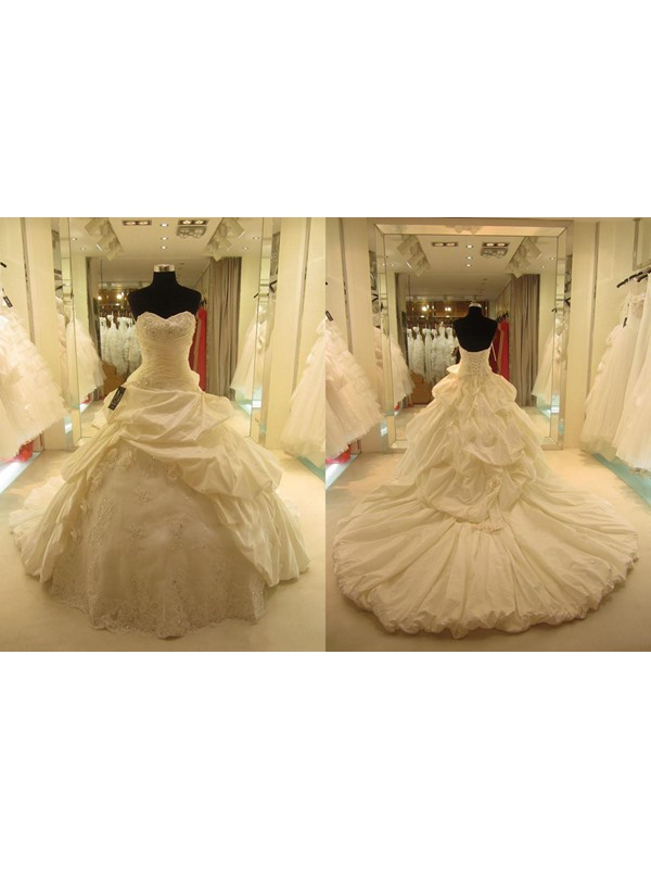 Sweetheart Tiered Pick-ups Ball Gown Cathedral Wedding Dress(Free Shipping)