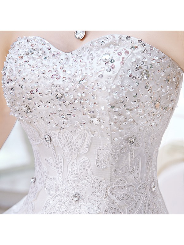 Dazzling Beaded Sweetheart Lace Floor Length Ball Gown Wedding Dress