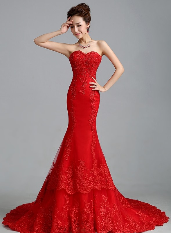 Sensual Beaded Sweetheart Red Mermaid Lace Wedding Dress