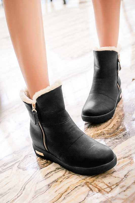 Round Toe Side Zipper Snow Boots