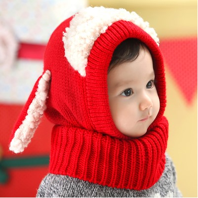 Style Trendy Woolen with Scarf Baby Hat