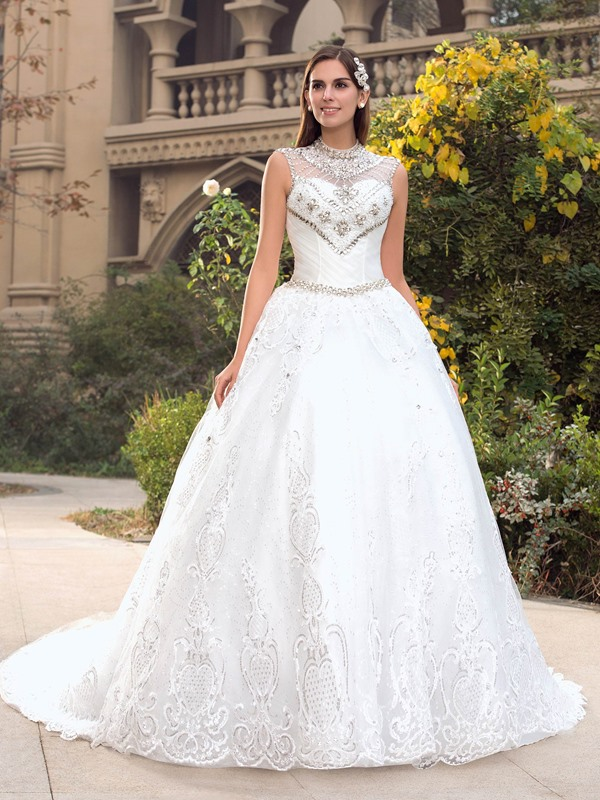 Vintage High Neck Beaded Appliques Ball Gown Wedding Dress