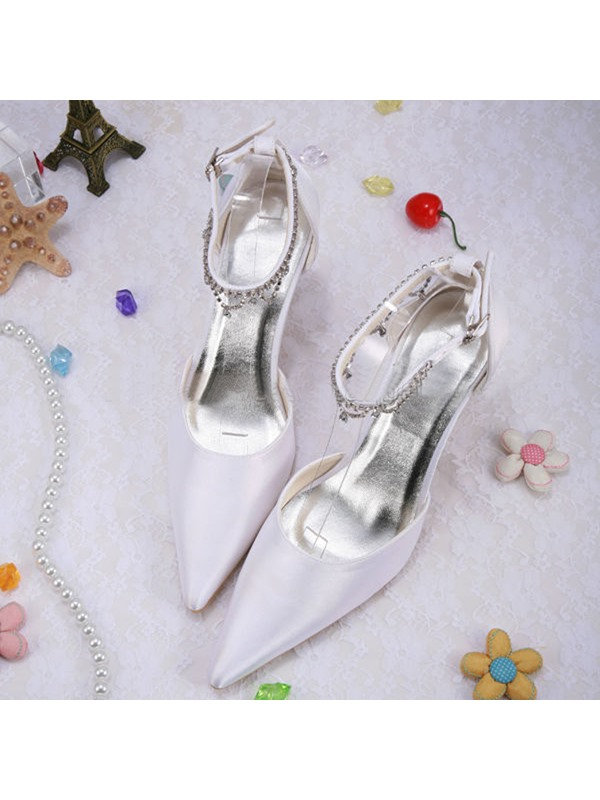 Point Toe Rhinestone Ankle Strap Chunky Heel Wedding Shoes