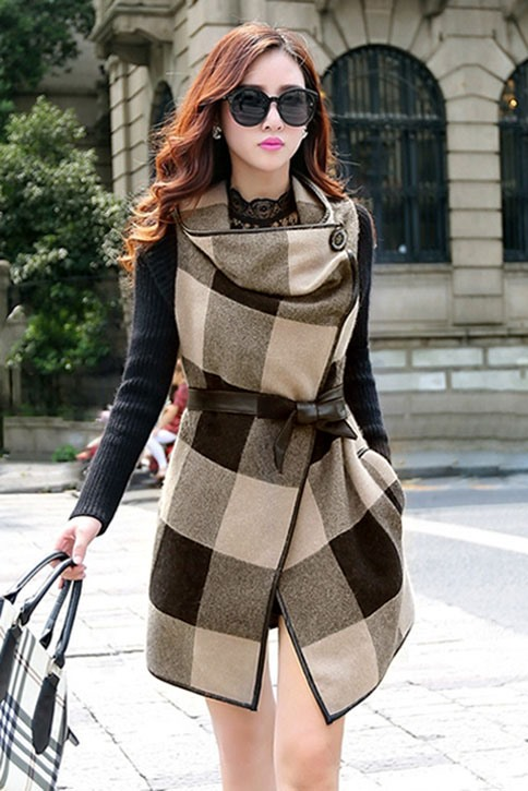 Plaid Long Sleeve Patchwork Overcoat