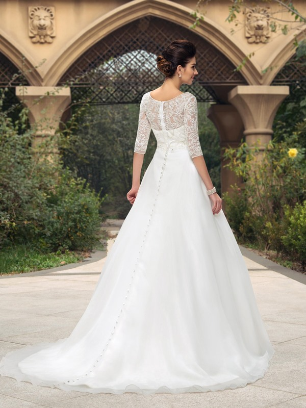 Dazzling Scoop Neck Lace Half Sleeve A-Line Wedding Dress(Free Shipping)