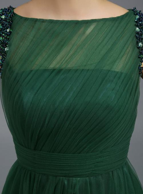 Stunning Bateau Neckline Beading Flowers A-Line Long Evening Dress(Free Shipping)