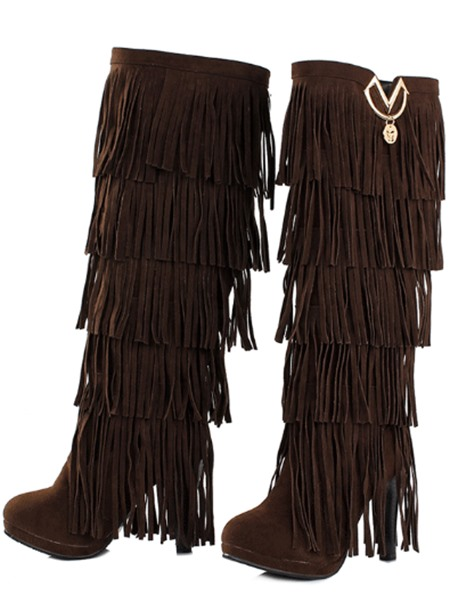 Eye-catching Tassel High Heel Knee Boots