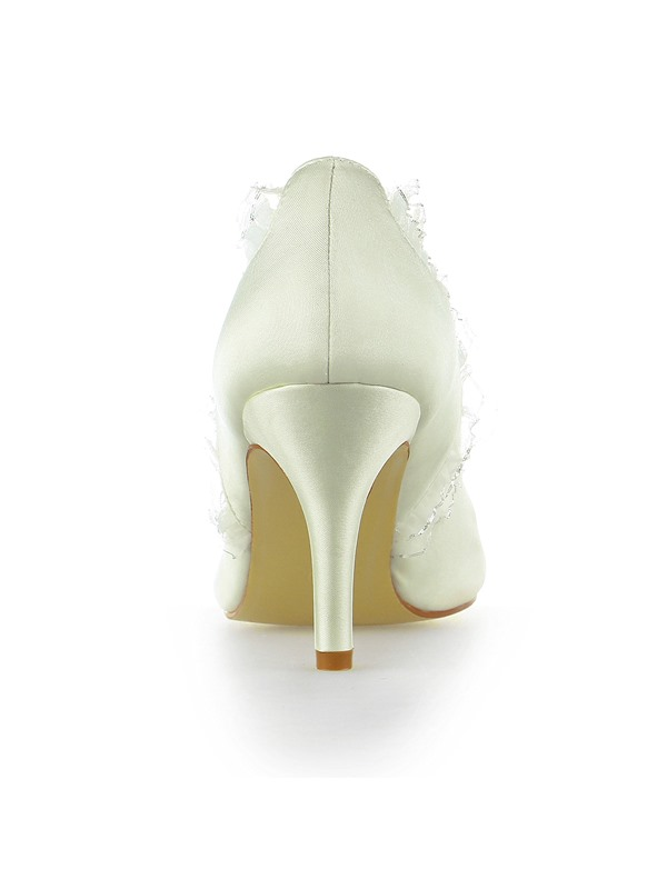 Fine Point Toe Ankle Strap Satin PU Heel Wedding Shoes