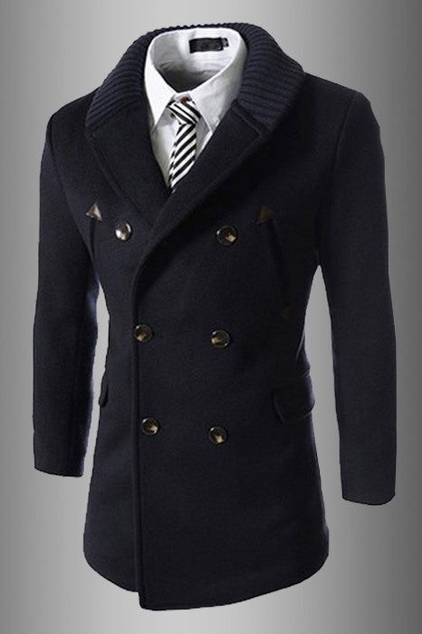 Double-Breasted Long Sleeve Topcoat