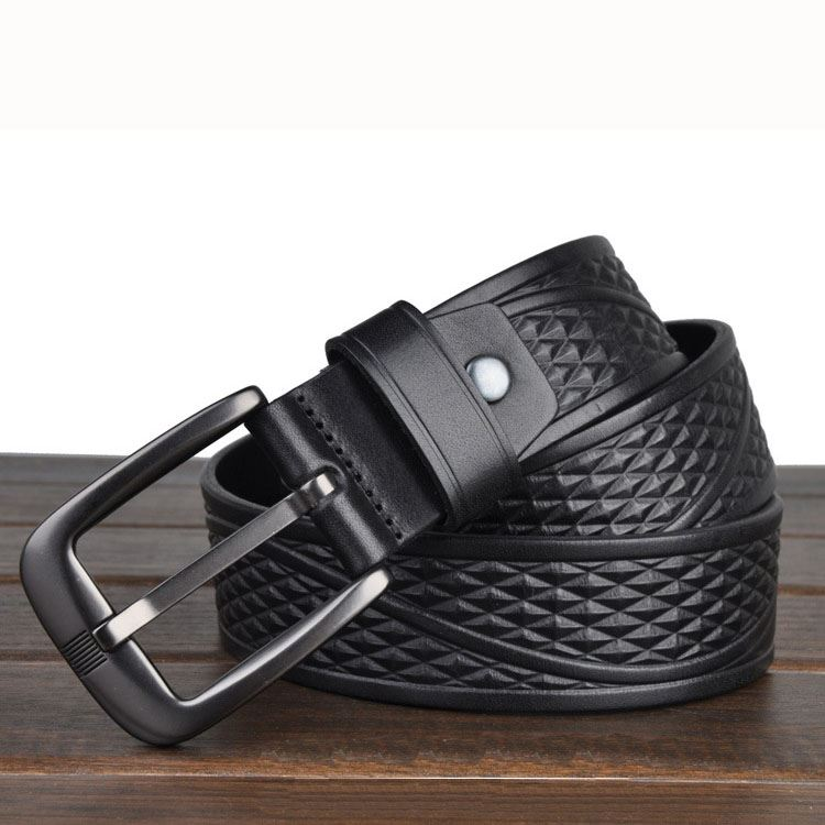 Geometric-Textured Pin Buckle Belt
