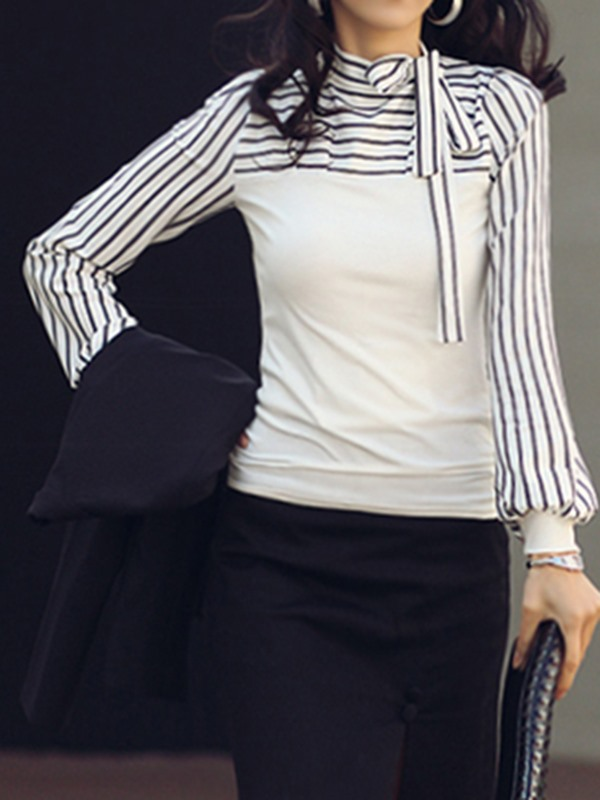 Stylish Stand Collar with Bow-knot Strips Sleeve Blouse