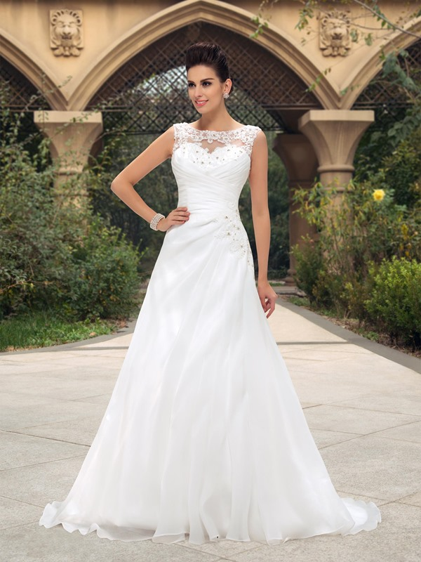 Dazzling Beaded Lace Bateau Neck Ruched A-Line Wedding Dress(Free Shipping)
