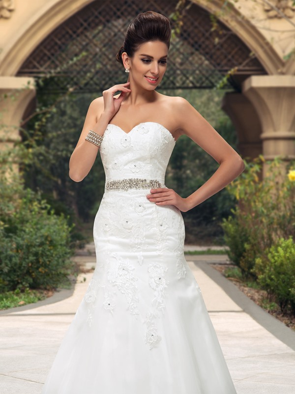 Dazzling Sweetheart Beaded Lace Appliques Mermaid Wedding Dress(Free Shipping)