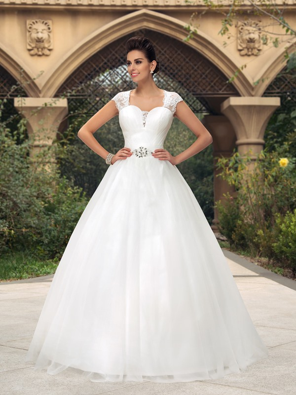 Elegant Sweetheart Sheer Lace Back Short Sleeve Floor-Length Wedding Dress(Free Shipping)