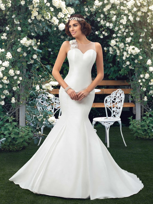 Dazzling Sweetheart Bowknot Floral Ivory Mermaid Wedding Dress(Free Shipping)