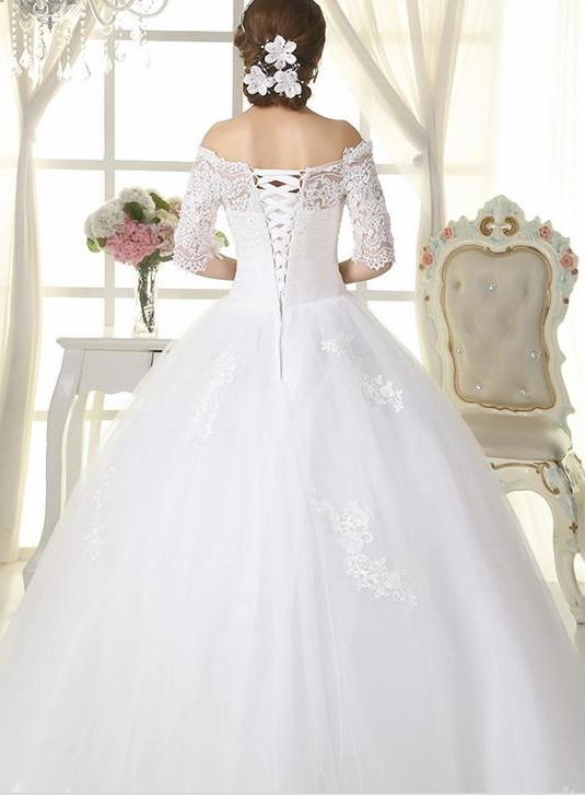 Classic Lace Appliques Off the Shoulder Long Sleeve Ball Gown Wedding Dress