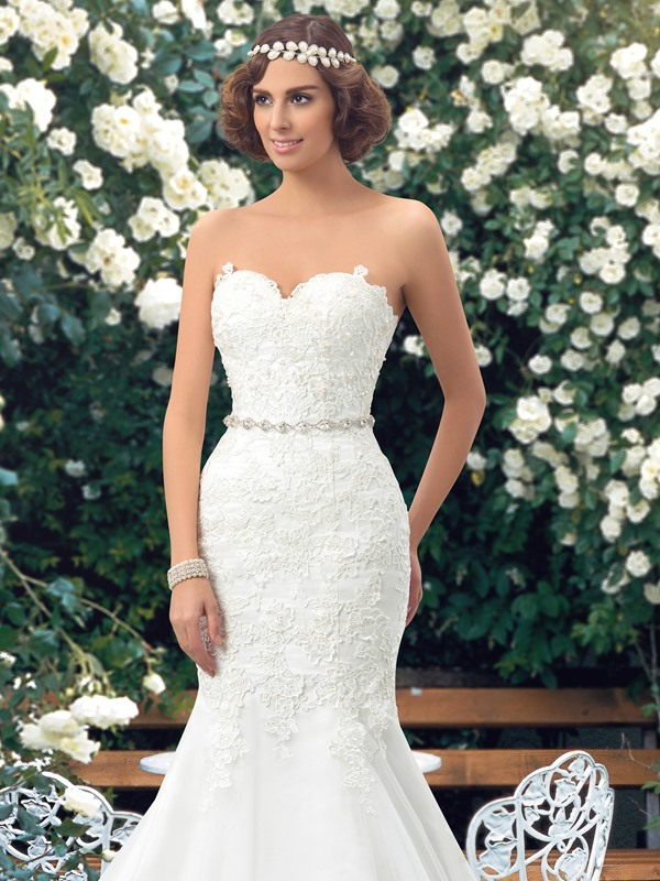 Sweetheart Lace Appliques Lace-Up Mermaid Wedding Dress (Including the Crystal Belt)(Free Shipping)
