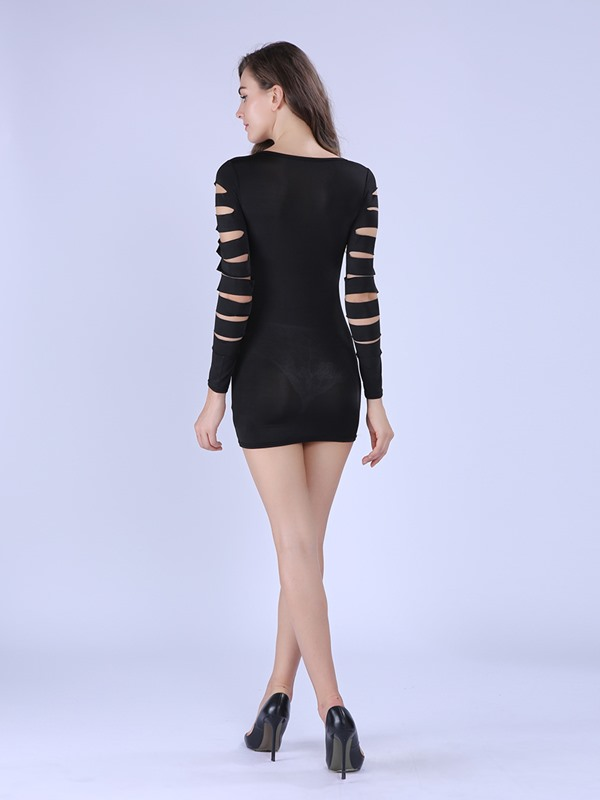 Solid Color Hollow Long Sleeve Bodycon Dress