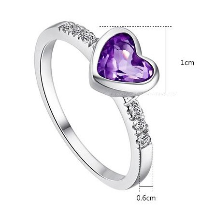 Romantic Natural Amethyst 925 Sterling Silver Women Ring