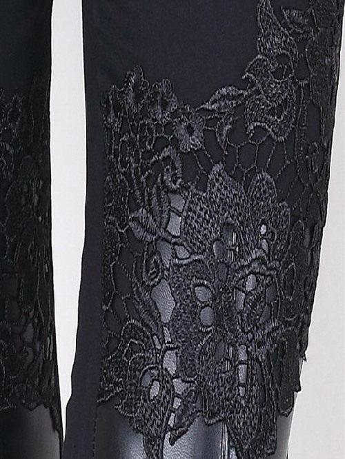 Black Lace Patchwork Elastic Leggings