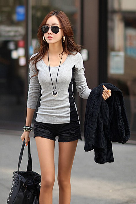 Gray Round Neck Long Sleeve T-shirt