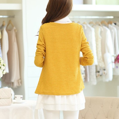 Double Layer Hollow Long Sleeve Knit Blouse