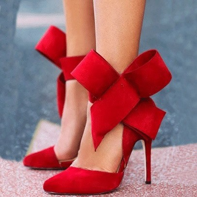 Bowknots Suede Pointed Toe Stiletto Heel Pumps