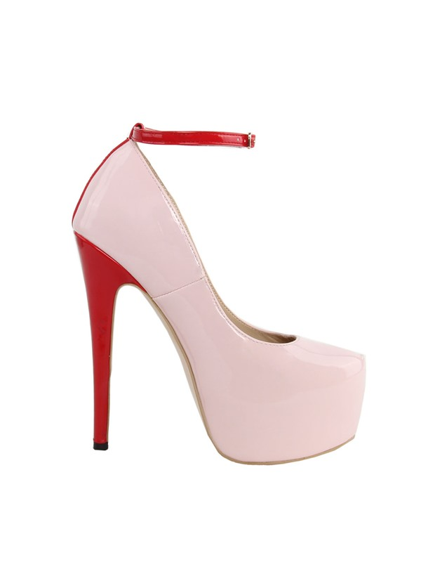 Pink Round Toe PU Stiletto Heel Pumps